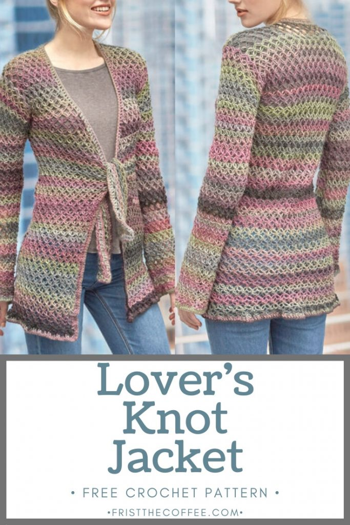 Lover's Knot Jacket from Yarnspirations | Free Crochet Cardigan Pattern | #crochet #pattern #crochetpattern #freeCrochetPattern #crochetCardigan