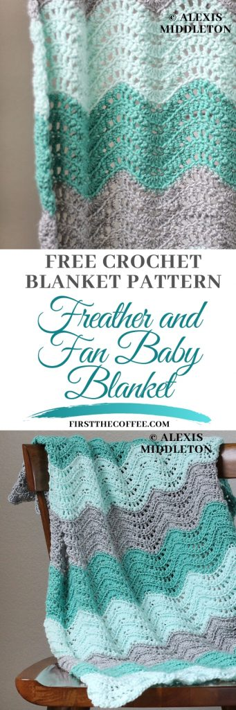 Feather and Fan Baby Blanket  - Free Crochet Baby Blanket Patter by  Alexis Middleton