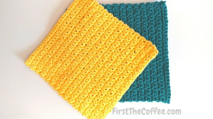 Textured Single Crochet Dishcloth in Yellow and Teal