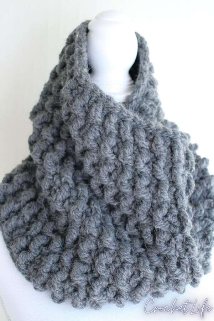 The Chrysalis Thick and Cozy Crochet Cowl Pattern from Crochet.life
